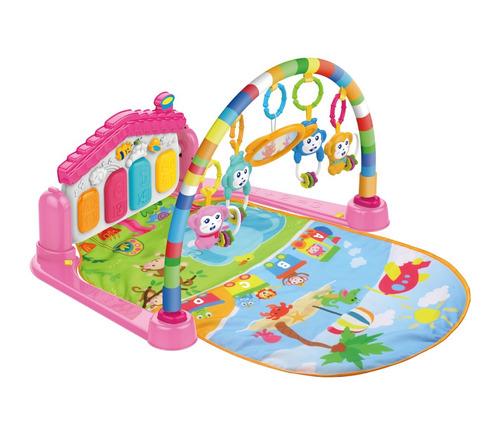 tapete de atividades bebê som e luz piano - casinha rosa