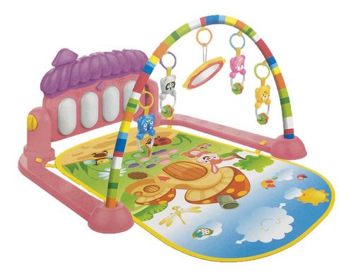 tapete de atividades para bebê piano musical kitstar rosa