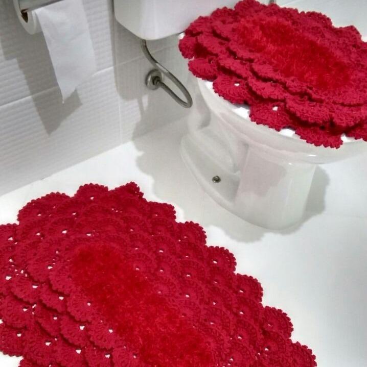 Tapetes Vermelhos Comprar Tapete Vermelho Tapetes: Tapete De Banheiro Feito Em Crochê Vermelho