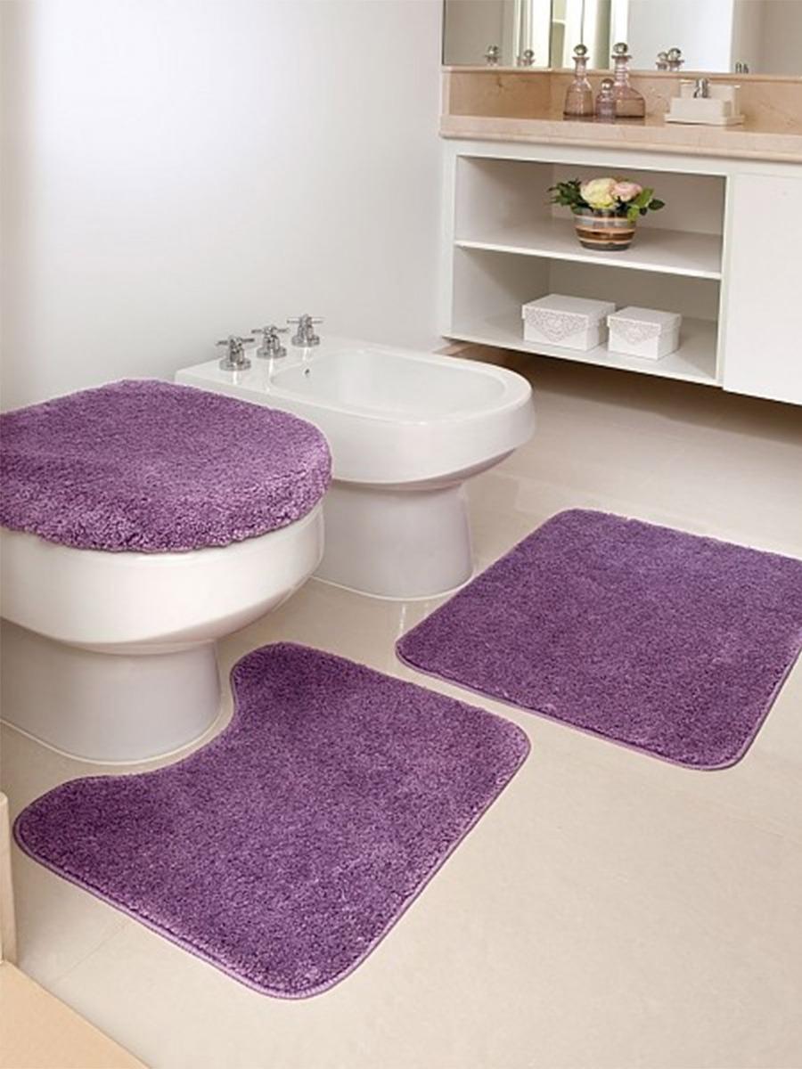 650928f79 Tapete De Banheiro Kit 3 Peças 100% Algodão - Admirare - R  59