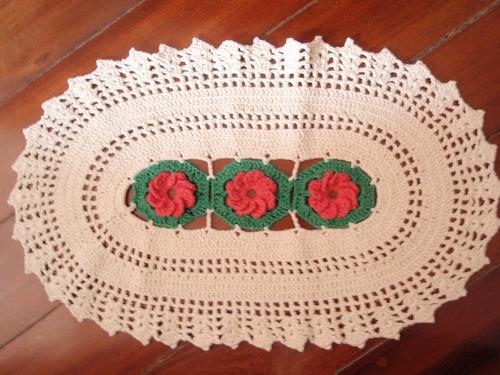 tapete de barbante croche tapete oval com flores