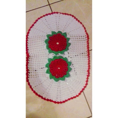 tapete de crochê com flores