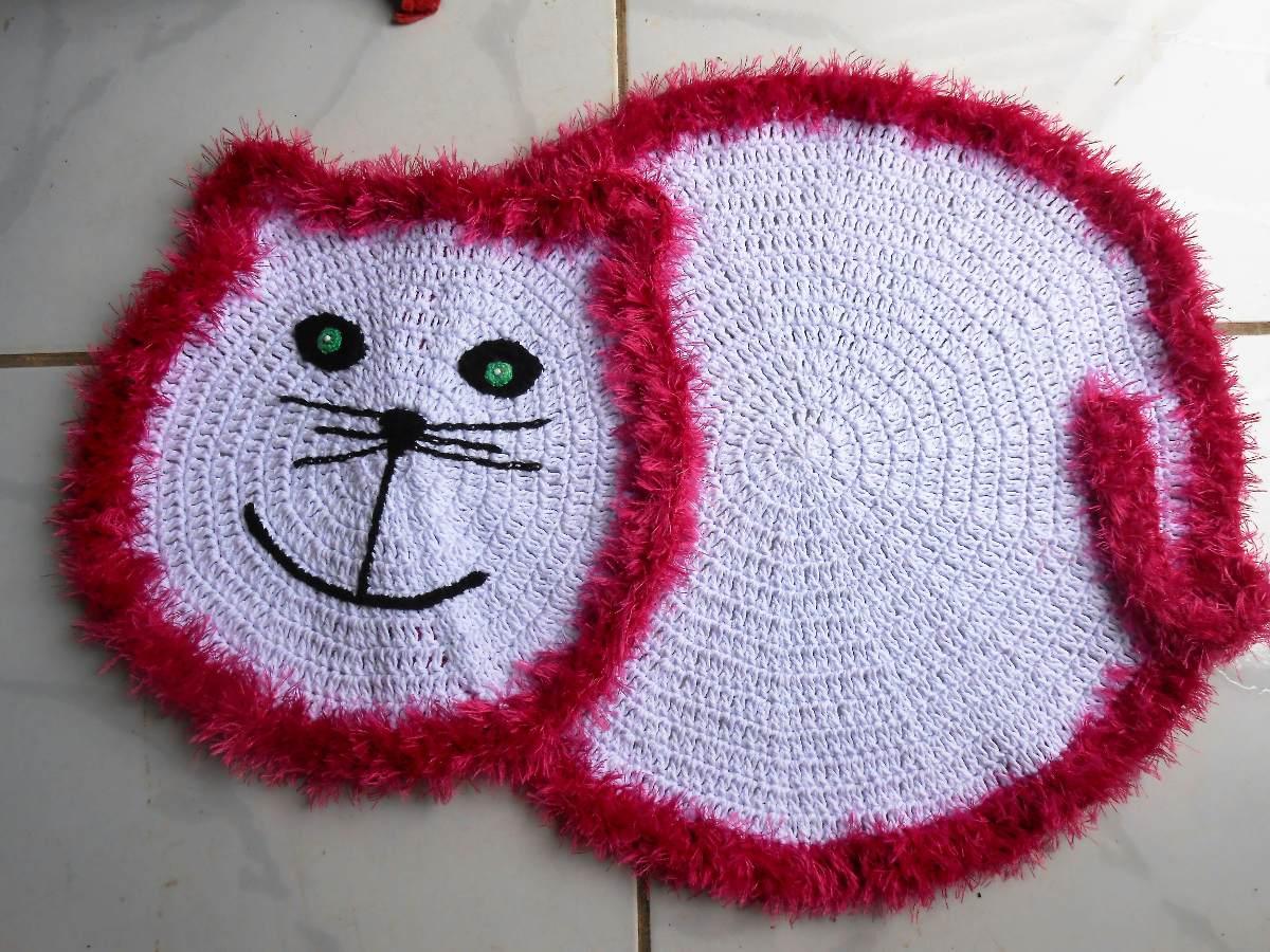 Tapete De Croche Infantil Barbante Desenho Gato R 58 90 Em