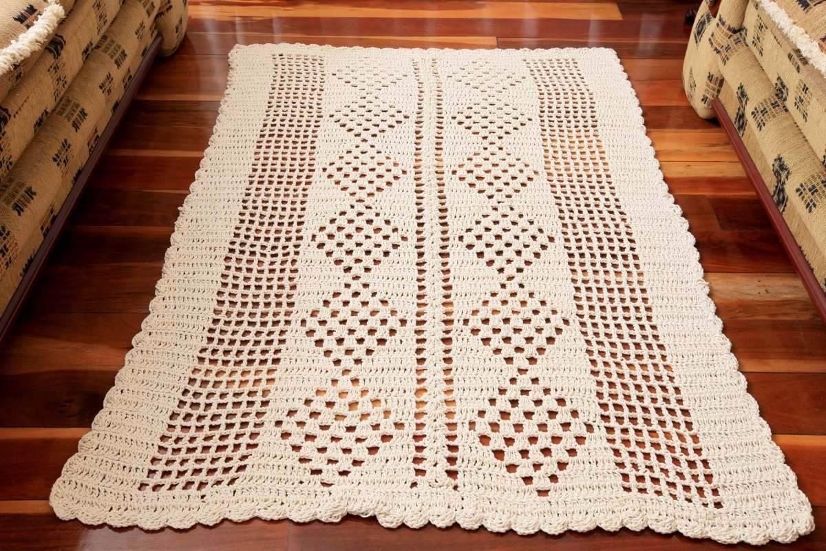 Tapete De Croche Retangular 1 60 X 1 10 Para Sala R 106 90 Em  -> Tapetes De Croche Para Sala