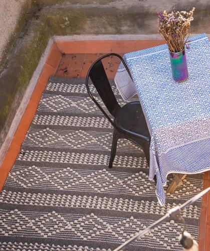 tapete de lana - bucle mediano gris y rombos 180x260cm