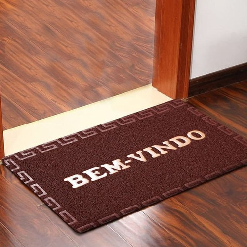 tapete de porta bem vindo emborrachado medidas: 40 x 60 cm