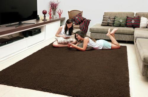 tapete de sala 1,50x2,00 chocolate, pelo alto jolitex