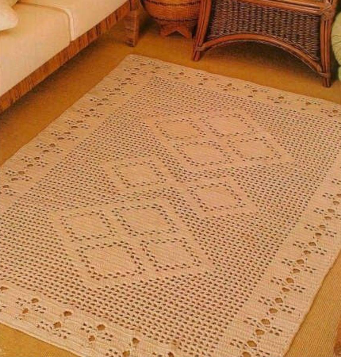 Tapete De Sala Quadrado Em Croch R 769 00 Em Mercado Livre -> Tapetes De Croche Para Sala