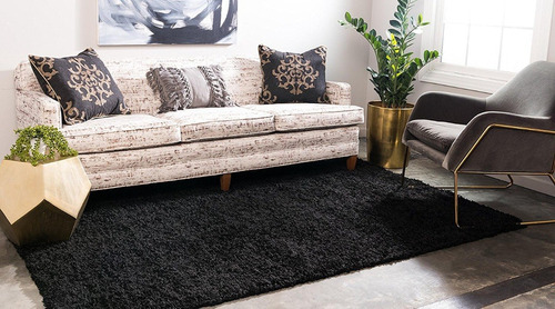 tapete decorativo alfombra sala negro 1.80 x 2.70 m unique
