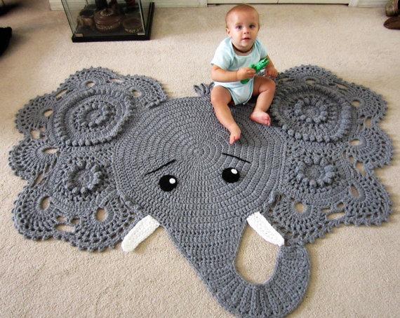 Tapete Elefante Masculino Em Croch 234 Infantil 1 20 Metros