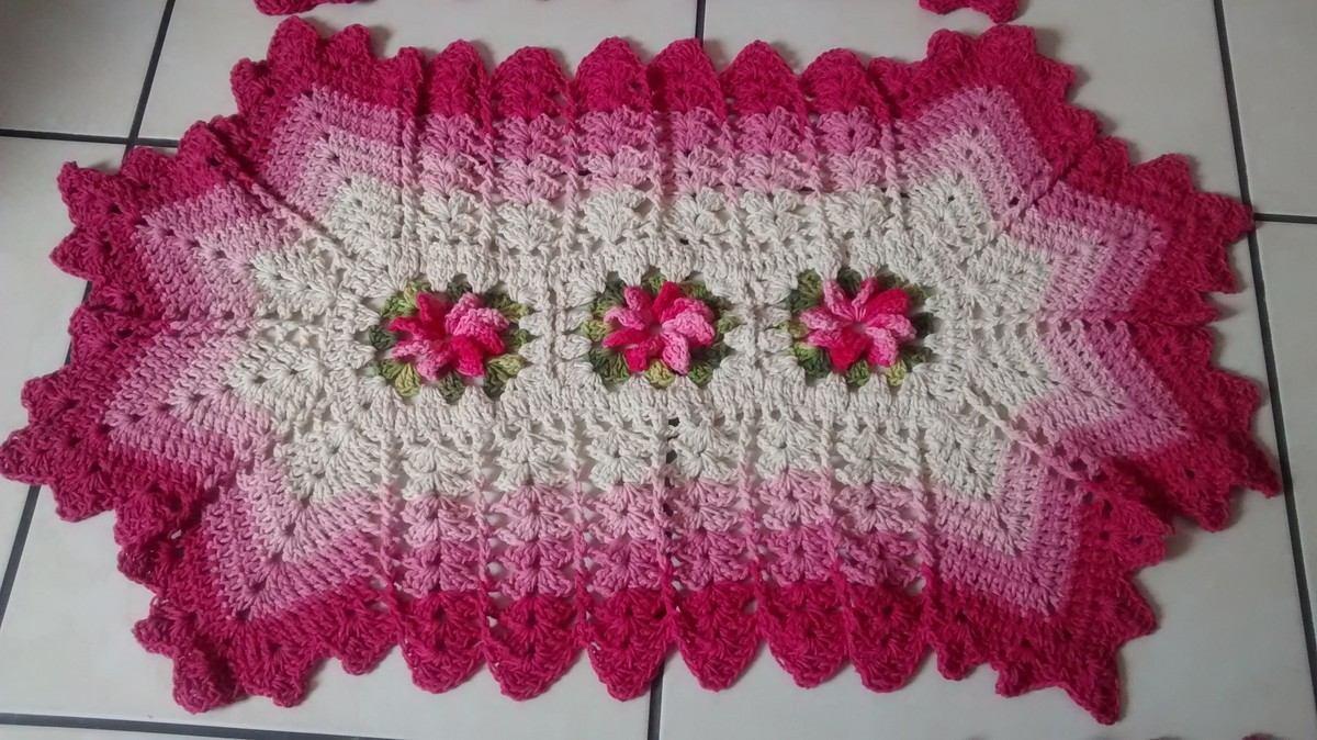 Tapete Em Barbante Flores E Bicos Degrad Rosa R 50 00 Em  ~ Tapete De Quarto De Barbante E Quarto Laranja E Marrom