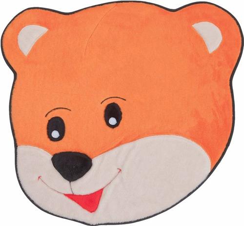 tapete em pelúcia urso carinhoso laranja p/ quarto infantil
