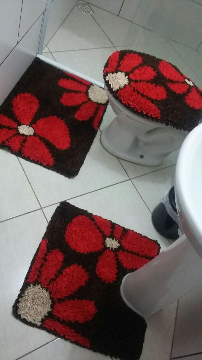 Tapete Frufru Banheiro Flor R 150 00 Em Mercado Livre -> Tapete Frufru De Flor