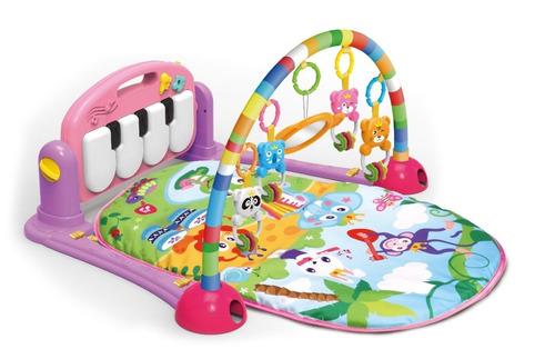 tapete ginasio atividade musical c/ móbiles piano (rosa)