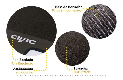 tapete honda civic 2013 2014 2015 2016 borracha preto 03 pçs