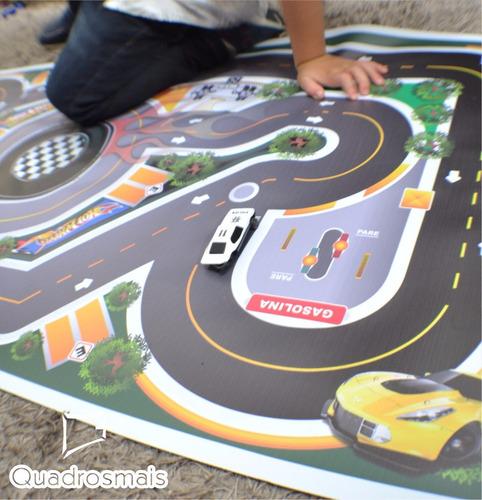 tapete ilustrativo pista para brincar carrinho hot wheels p