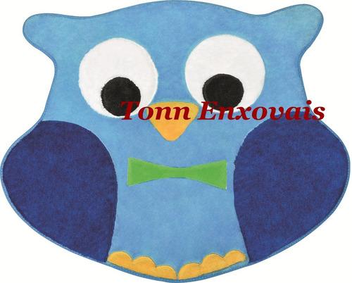 tapete infantil coruja azul 78x66cm pelúcia antialérgico