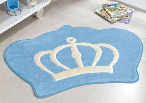 tapete infantil de pelúcia quarto de bebê coroa real azul