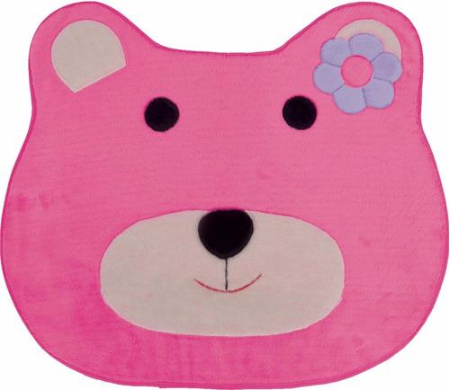 tapete infantil em pelúcia ursa pink para de quarto menina