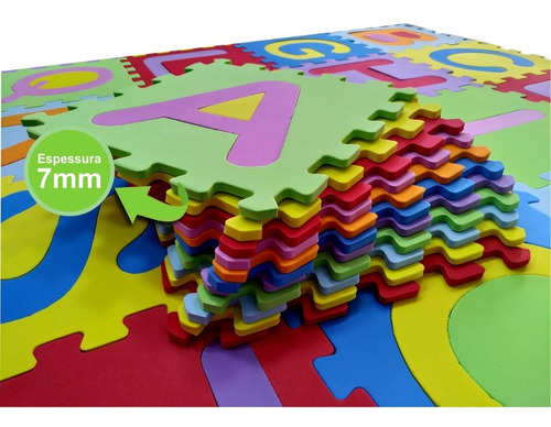 tapete infantil eva alfabeto completo 26 peças - 31x31cm 7mm