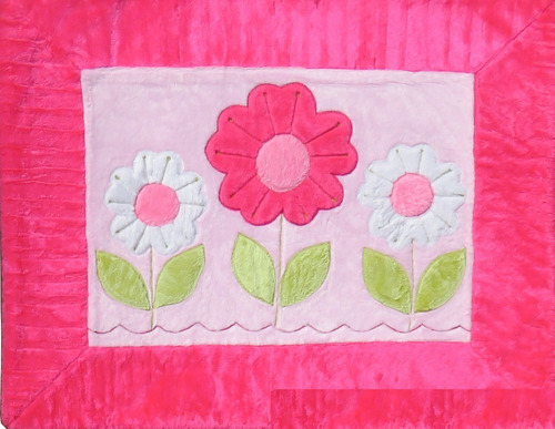 tapete infantil jardim 3 flores pink pelúcia antialérgico