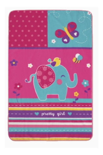 tapete infantil para juego con antiderrapante elefante rosa