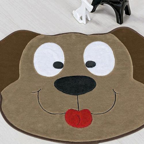 tapete infantil pelúcia decorativo cachorro feliz - bege