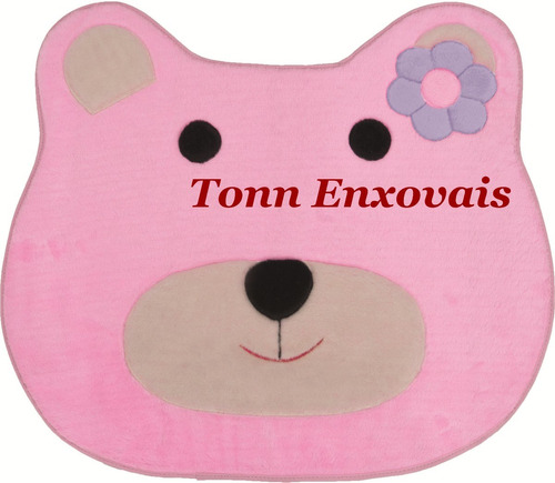 tapete infantil ursa ursinha rosa 75cmx65cm em pelúcia