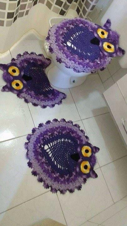 Tapete Jogo De Banheiro Coruja Em Crochê - 4 Peças - R$ 159,00 em ...