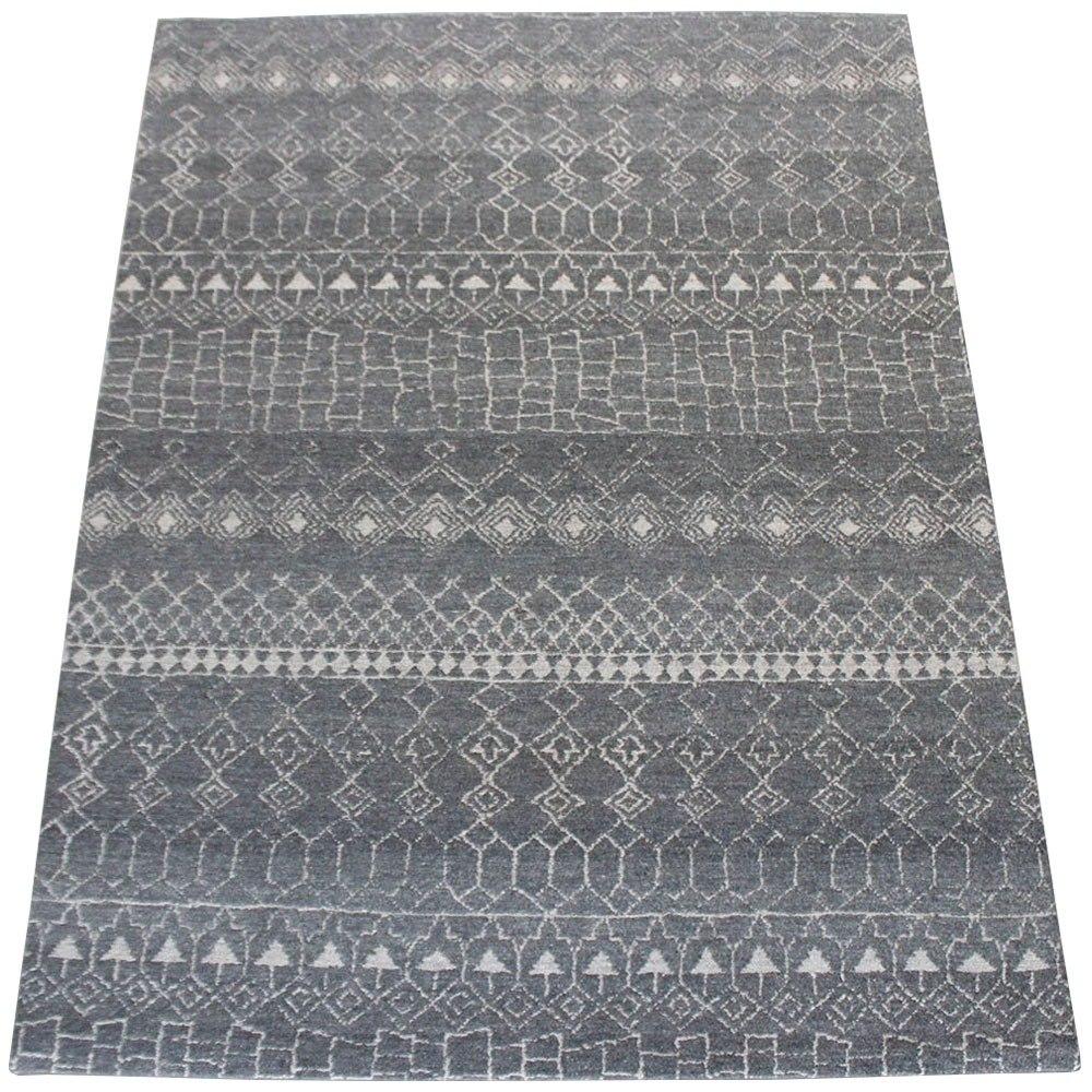 Tapete Kilim Marrocan Desenhos Geom Tricos Cinza 1 50×2 00m R  -> Tapetes Desenhos