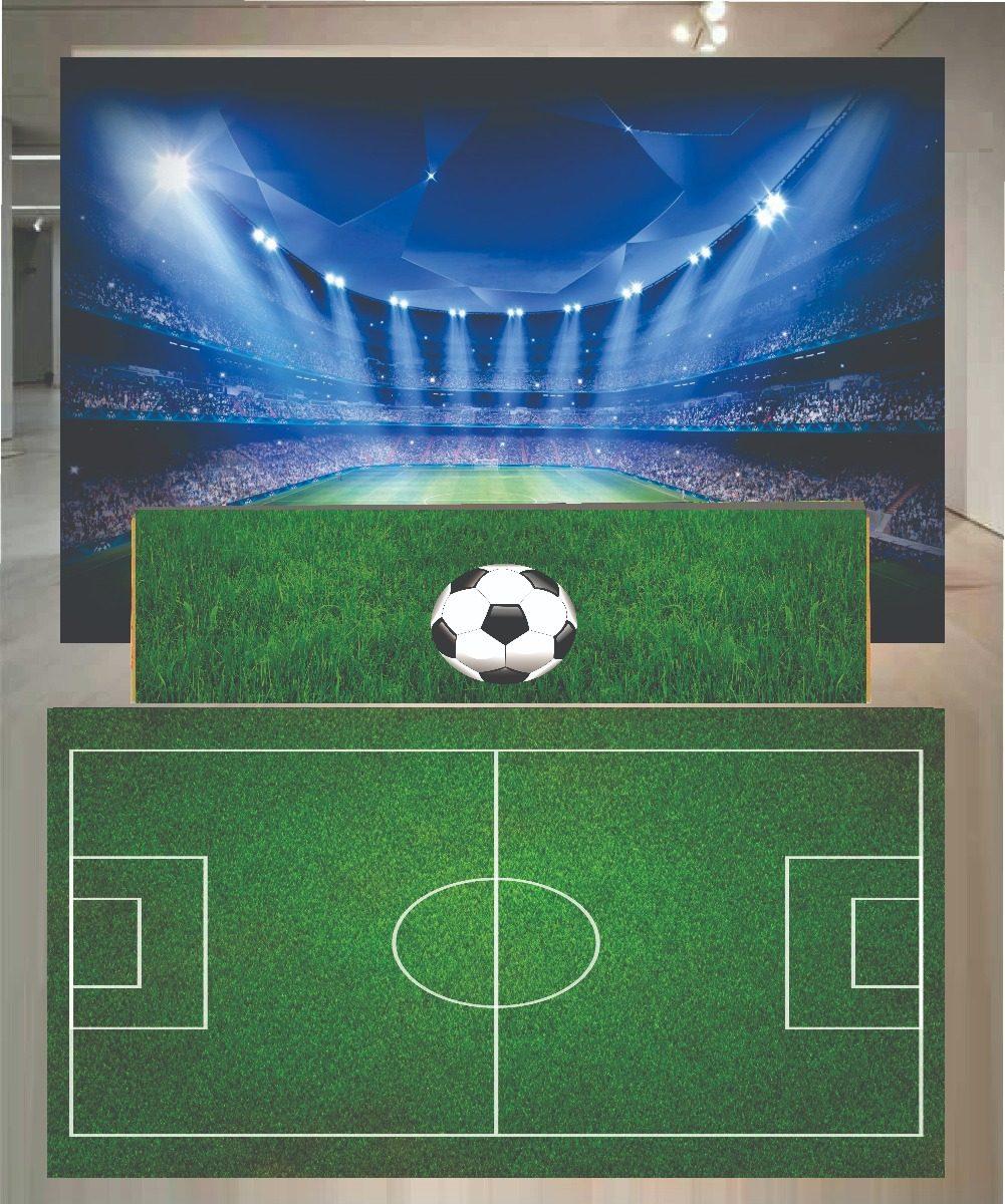 Tapete Lona + Saia De Mesa + Painel Futebol (02) 3x3 - R  407 0a803d73c57fd