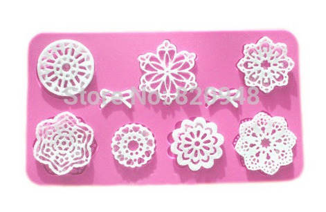 tapete molde renda de açúcar silicone mandala laços cupcake