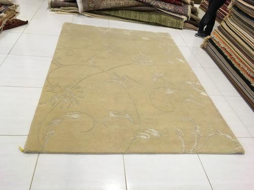 tapete nepal com seda silk 249x177cm artesanal 2,5x2m 2x2,5m