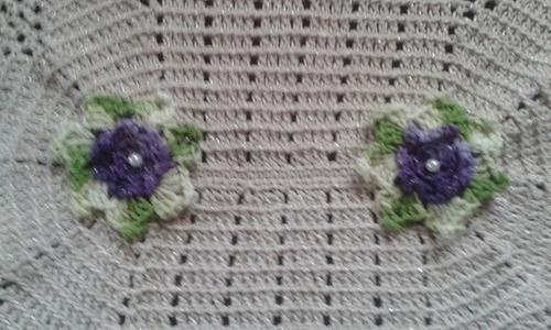 tapete oval - croche cru/lilás