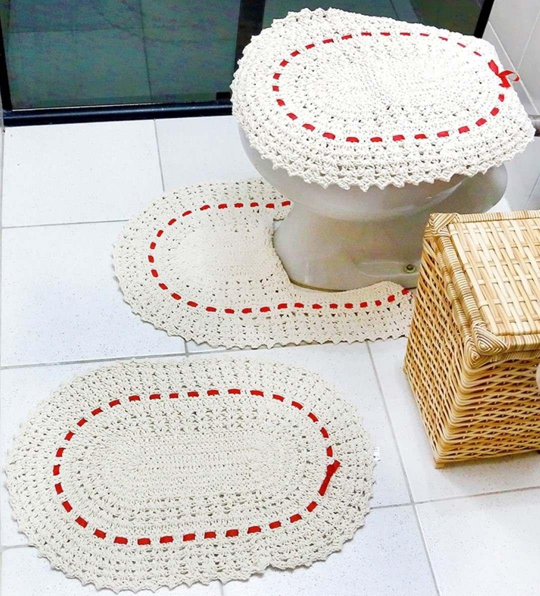 Tapete Para Sala Crochê + Jogo De Banheiro Crochê  R$ 146,80 em Mercado Livre -> Tapete Para Banheiro Croche Simples
