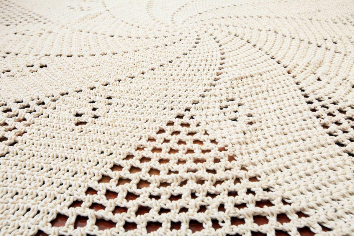 Tapete Para Centro De Sala Redondo Barbante R 109 90 Em Mercado Livre -> Tapete De Croche Oval Simples Passo A Passo