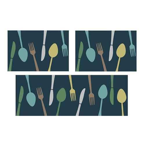tapete para cozinha 100% poliéster kit 3 peças azul escuro