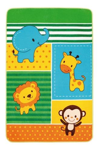 tapete para juego infantil afelpado y con antiderrapante zoo