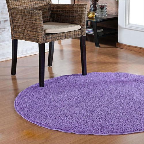tapete para sala quarto redondo 100 cm lilas classic