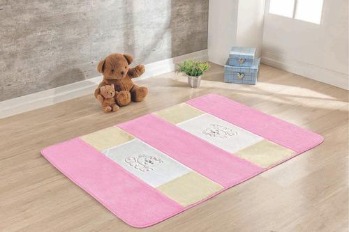 tapete passadeira pelúcia ursinha rosa claro infantil menina
