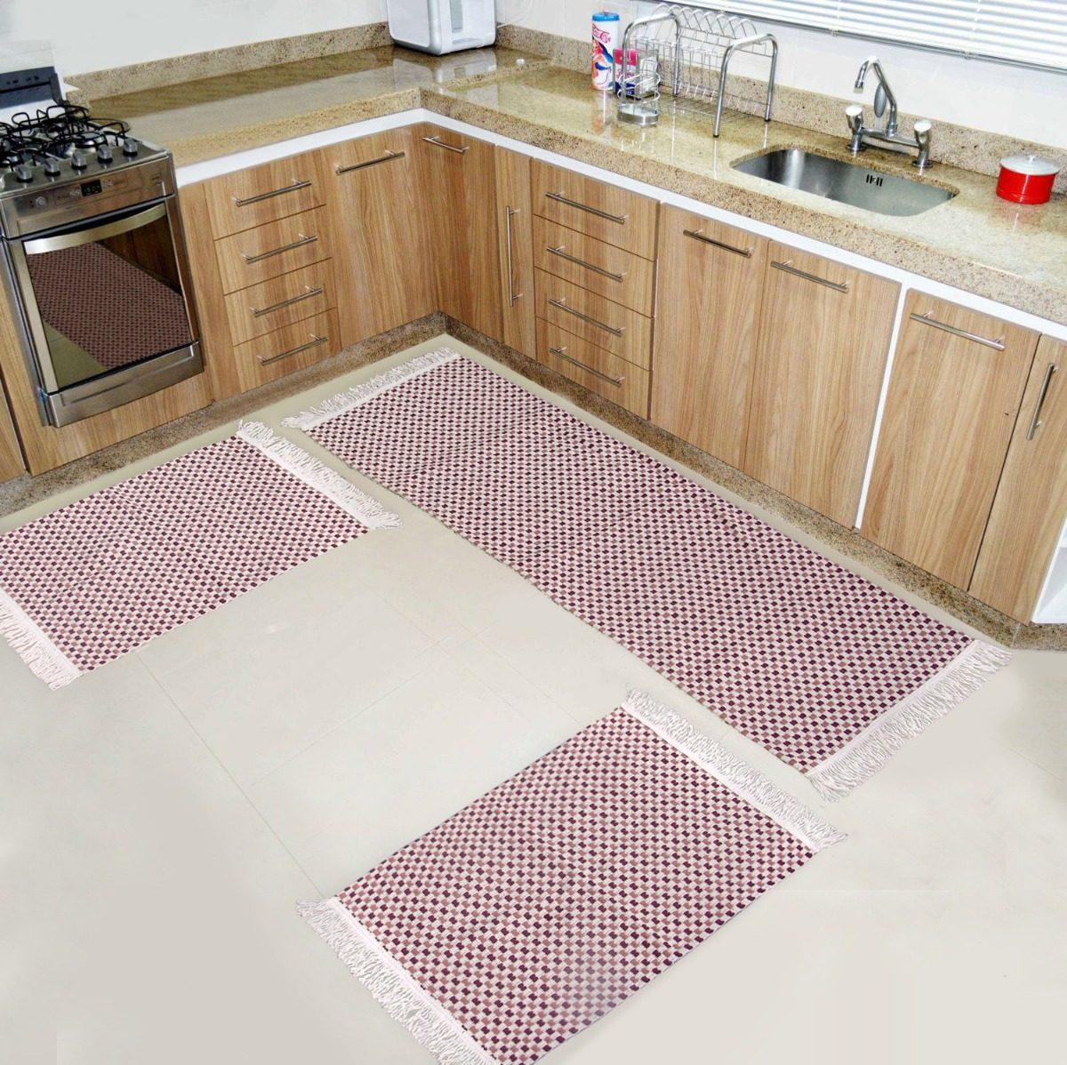 Tapete Passadeira Sala Cozinha Corredor Capacho 3 P S Vinho R 120  -> Tapete De Sala Vinho