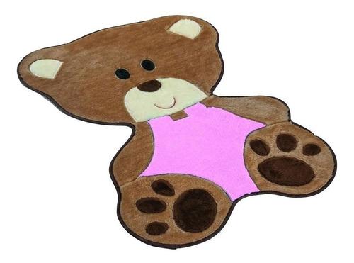 tapete pelúcia baby quarto bebê urso ursinho rosa