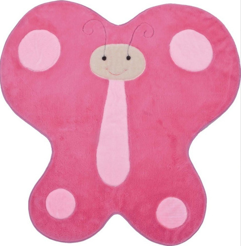 tapete pelúcia infantil borboleta grande pink 1,25m x 1,20m