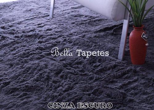tapete peludo promoção 2,00 x 4,00 + brinde /shaggy luxo 4cm