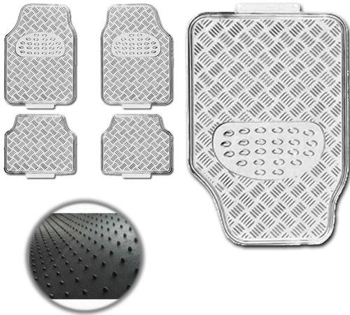 tapete prata automotivo alumínio corsa  universal 4 peças