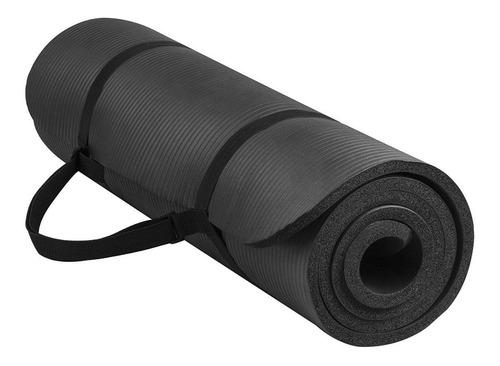tapete preto yoga colchonete com alça exercícios em nbr 8mm
