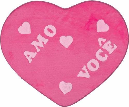 tapete quarto infantil de pelúcia coração amo você big pink