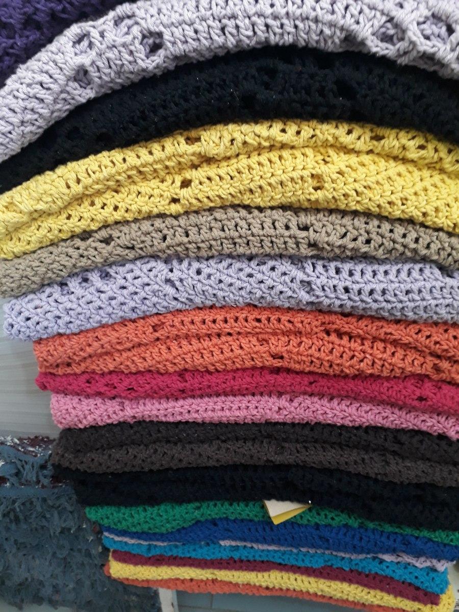 Tapete Redondo Croch Azul Marfim Tapete Sala Croche Grande R 129  -> Tapete Para Sala Croche