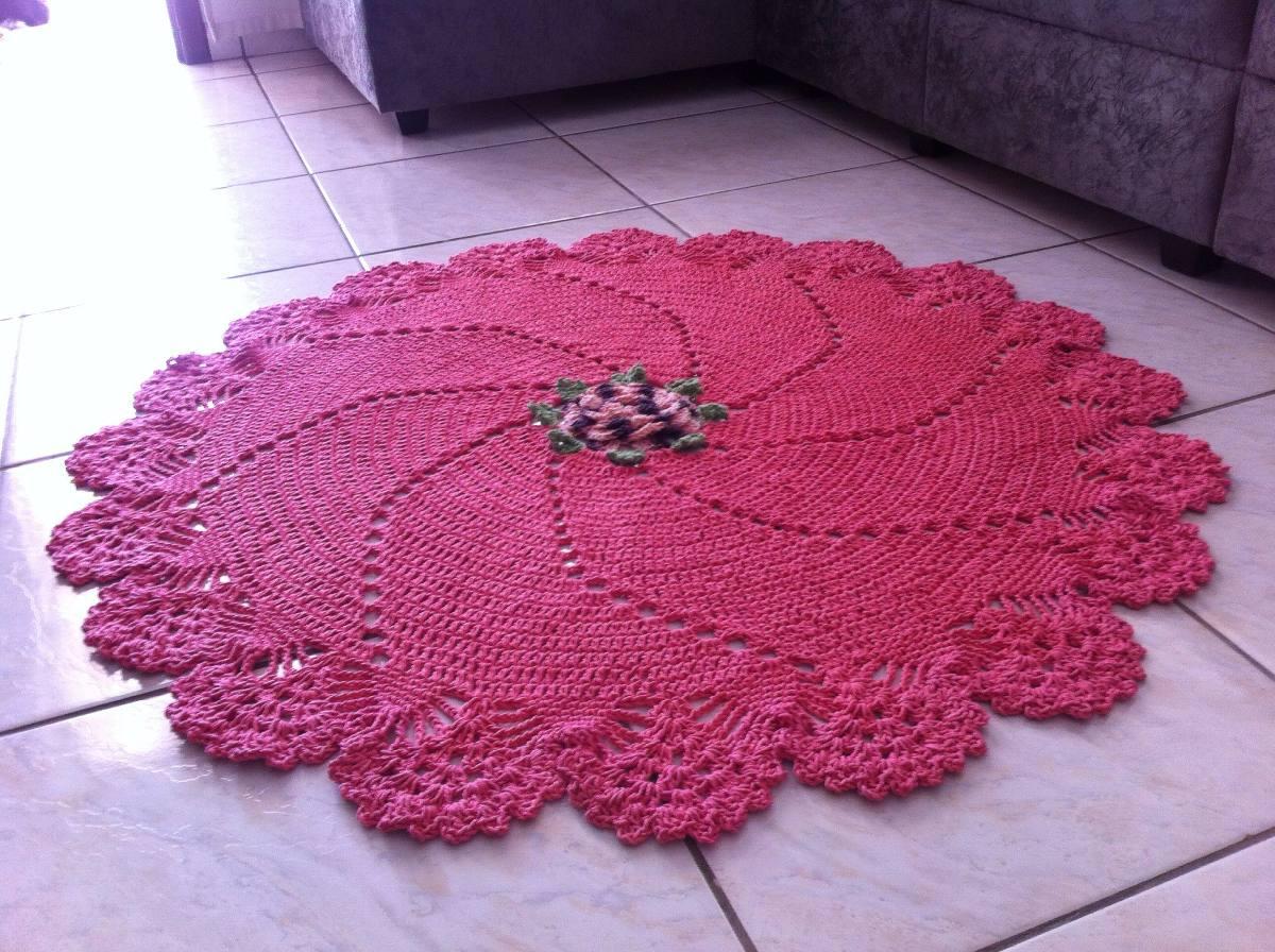 Tapete Redondo Em Croche Para Centro De Sala Tamanho 1 25mt R 240  -> Tapete Para Sala De Barbante Redondo