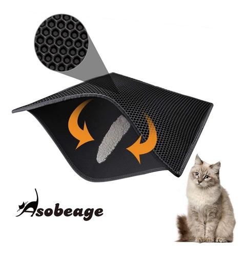 tapete retencion d arena p/gato afuera arenero 76.2x61cm ngr